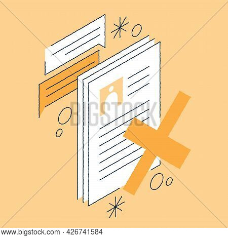 Job Recruiting Isometric Illustration Candidates Cv With Cross Rejected. Hr Analysis Summary With La