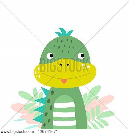 Dinosaur In Flat Style. Cartoon Dino Portrait. Vector Iilustration With Cute Dinosaur For Kids