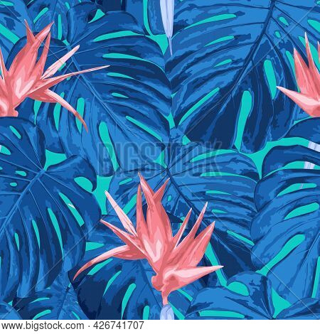 Tropical Floral Seamless Pattern. Vector Background In Trendy Fantasy Colors. Texture With Bright Bl
