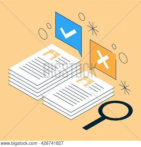 Job Recruiting Isometric Illustration. Choosing Work Candidates Sorting Cv To Reject Or Approve. Hr