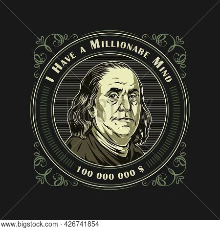 Money And Finance Vintage Colorful Badge With Letterings And Benjamin Franklin Portrait Isolated Vec