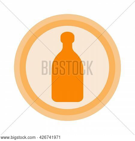 Bottle Of Tequila. Background Is Circle. Isolated Color Object Design Beverage. Graphic Illustration