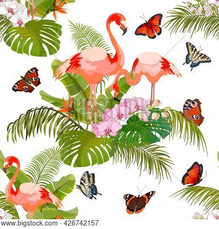 Pattern With Butterflies And Flamingos.flamingos, Butterflies And Tropical Plants In Color Vector Pa