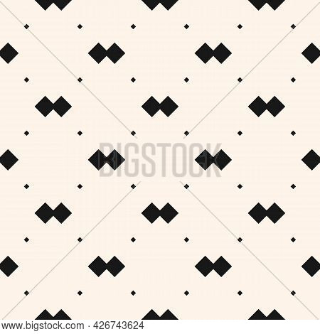 Vector Geometric Texture With Small Diamond Shapes, Tiny Rhombuses, Squares, Dots. Abstract Minimali