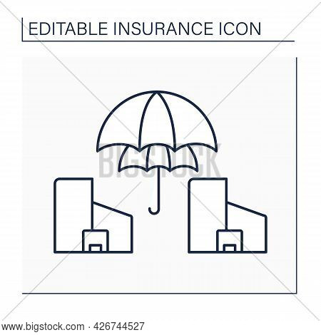 Reinsurance Line Icon. Insurance Company Purchases From Another Company To Insulate From Risk Of Maj
