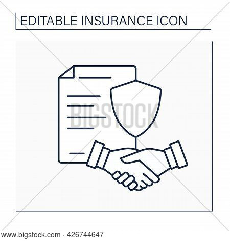 Policy Line Icon. Contract Between Insurer And Policyholder. Agreement Determines Claims For Insuran