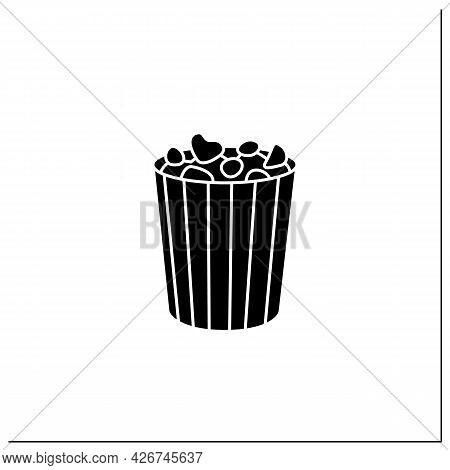 Popcorn Glyph Icon. Tasty Corn In Special Paper Box. Portion Control. Packing Food Concept. Filled F