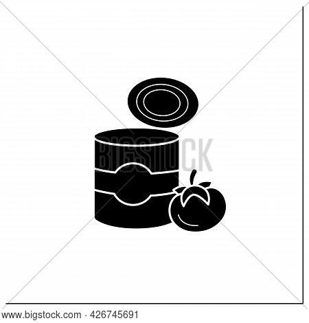 Tomato Soup Glyph Icon. Soup In Tin Can. Steel Container.portion Control, Protection, Tampering Resi