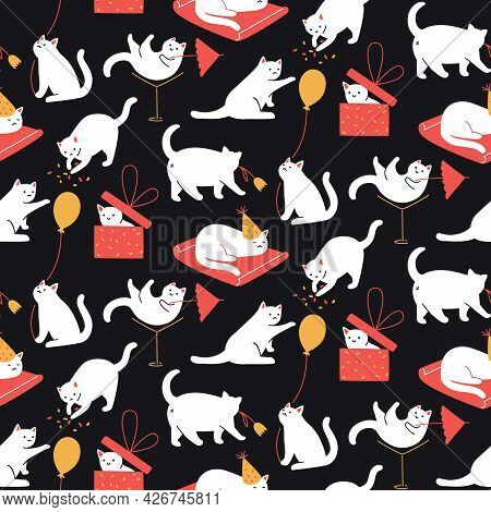 Cats Party Pattern, Seamless Background. Kitties Playing, Hiding In Gift Box, Having Fun. Wrapping P