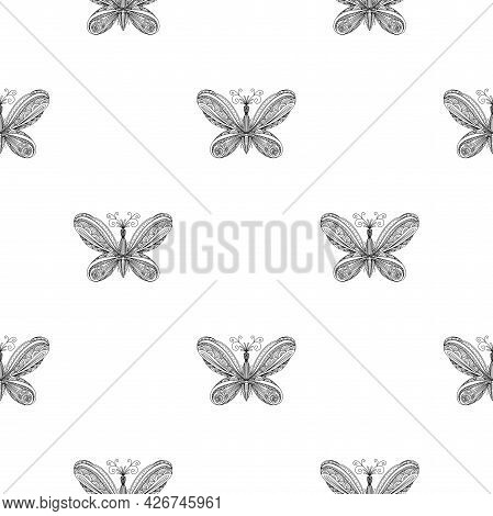 Butterfly Pattern. Linear Art. Black And White Image Of A Butterfly. Coloring Antistress For Adults.
