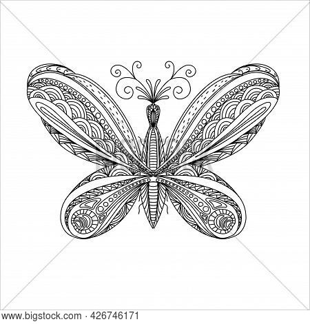 Butterfly Coloring. Linear Art. Black And White Image Of A Butterfly. Coloring Antistress For Adults