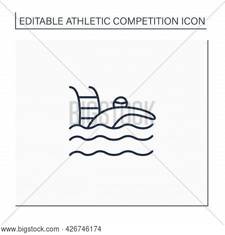 Swimming Line Icon. Team Ar Individual Racing Sport. Swimmer Swim Through Water In Swimming Pool.ath