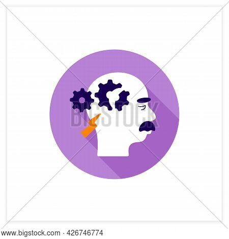 Cognitive Deficits Flat Icon. Difficulty With Reasoning, Complex Tasks, And Judgment.neurologic Diso