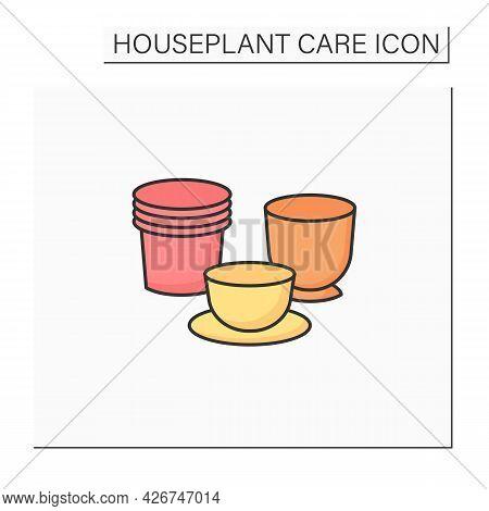 Plant Pots Color Icon. Pots Varieties For Planting Plants.home Gardening. Houseplant Care Concept.is