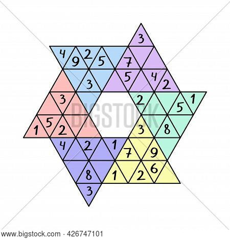 Colorful Star Sudoku Game For Children Vector Illustration. Unusual Sudoku Game With Triangular Cell
