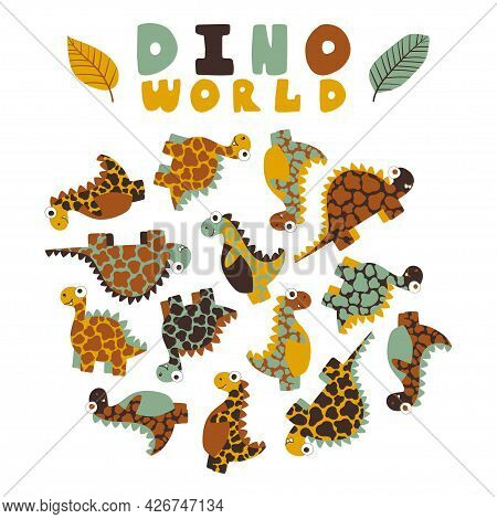 Dino World - Set With Neutral Colors Hand-drawn Dinosaurs For Kids Vector Illustration. Cartoon Spot