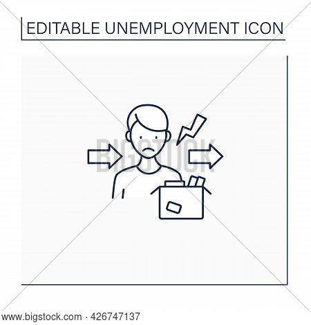 Fired Line Icon. Dismiss Worker From Job. Upset Man Lost Job. Staff Reduction.unemployment Concept.