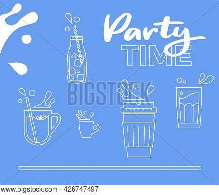 Milkshake Party. Milk Splashes And Cup, Bottle, Mug And Paper Cup Icons. Milky Theme With Blue And W