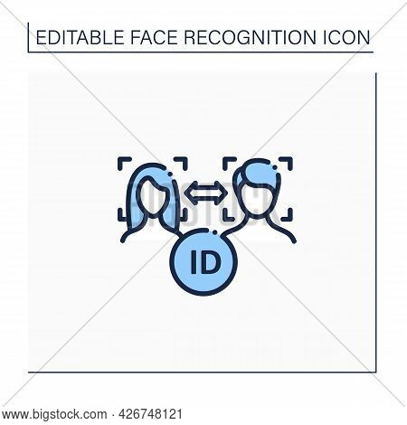 Face Match Line Icon.authentication Technology.matching Human Faces From Image, Video Frame. Identif