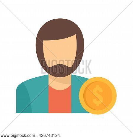 Man Buyer Icon. Flat Illustration Of Man Buyer Vector Icon Isolated On White Background
