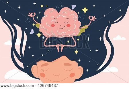 Calm Brain Meditation To Relax Balance Or Mental Wellness Concept. Girl And Organ Character With Cut