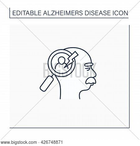 Recognition Problems Line Icon. Trouble Recognize Faces, Objects.alzheimer Disease. Neurologic Disor
