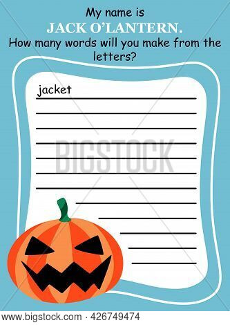 Words Within A Word - Educational Game For Halloween Colorful Vertical Vector Illustration. Create A