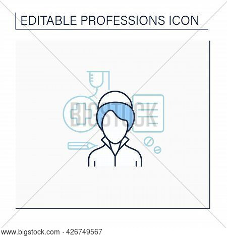 Nurse Line Icon. Woman Treat Patients, Record Medical History.health, Supportive Care About Patients