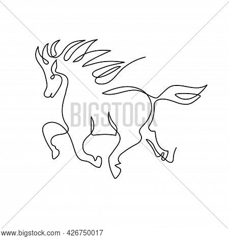 Chinese Zodiac Sign Year Of The Horse. The Horse Is Drawn With One Line. Continuous Line.