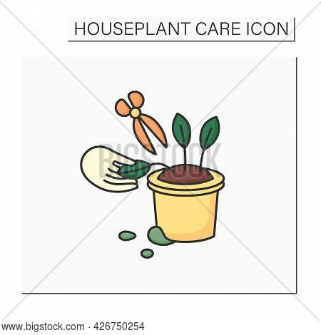 Gardening Color Icon. Remove Dying Leaves. Trimming Leaflets.home Gardening. Houseplant Care Concept