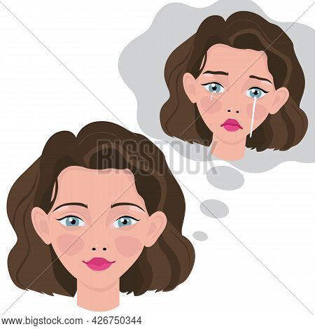 Mental Health Illustration Concept. Woman With Depressed Problem. Concept Good And Bad Mood. Hidden
