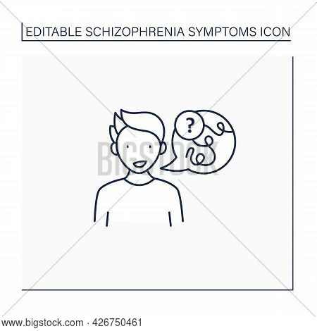 Negative Symptoms Line Icon.speech Difficulties, Abnormalities. Disconnected Replies To Questions.sc