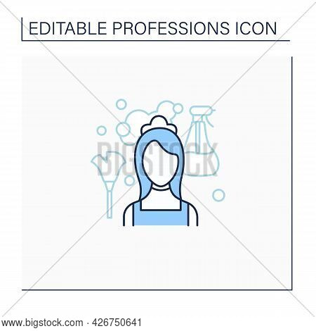 Maid Line Icon. Housemaid, Maidservant. Female Domestic Worker.cleans Service.important Job. Profess