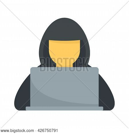 Hacker With Hood Icon. Flat Illustration Of Hacker With Hood Vector Icon Isolated On White Backgroun