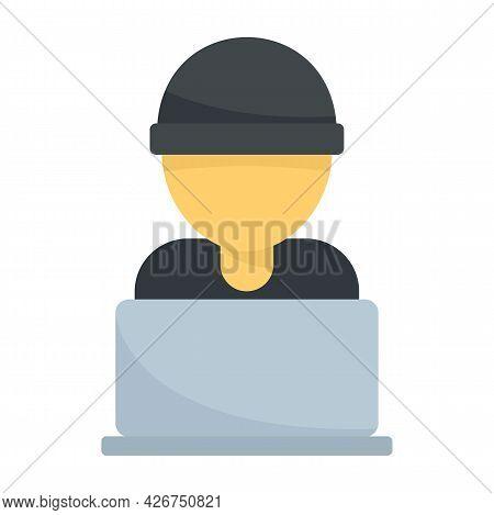 Hacker Laptop Icon. Flat Illustration Of Hacker Laptop Vector Icon Isolated On White Background