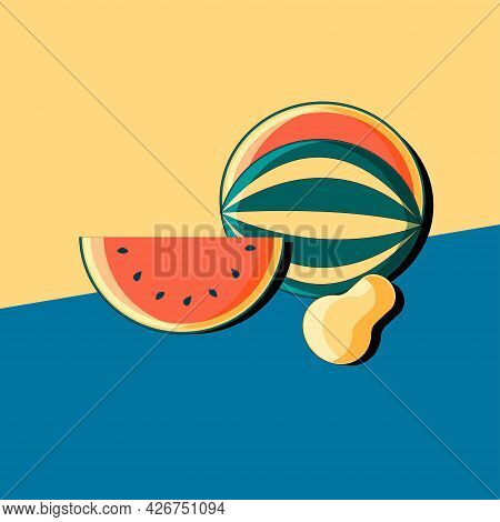 Stylized Still Life With Watermelon And Pear. Colorful Flat Illustration. Element For Design.  Vecto
