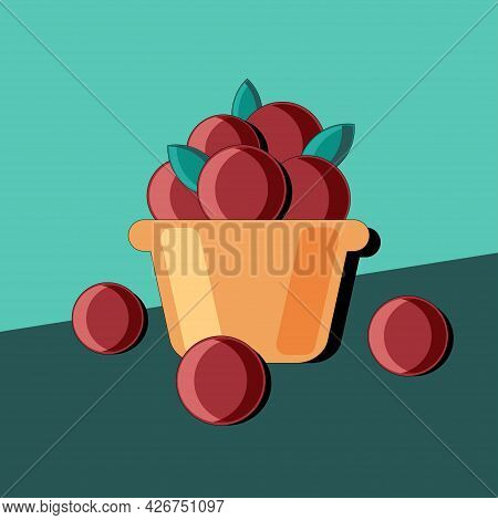 Stylized Still Life With Peaches And Kitchen Utensils. Colorful Flat Illustration. Element For Desig