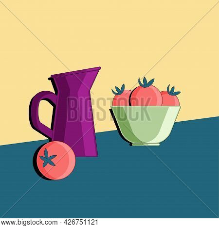 Stylized Still Life With Tomato And Kitchen Utensils. Colorful Flat Illustration. Element For Design