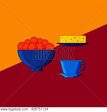 Stylized Still Life With Berries And Kitchen Utensils. Colorful Flat Illustration. Element For Desig