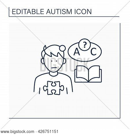 Neurodevelopmental Disorder Line Icon. Language Comprehension Deficit. Abnormal Learning Ability. Au