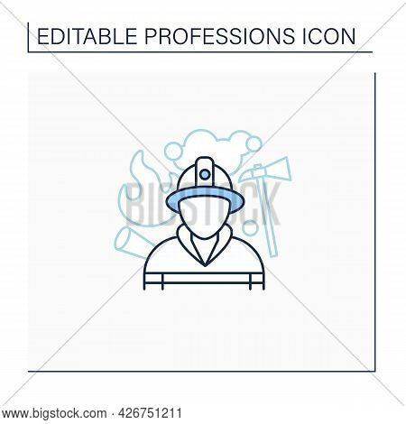 Fireman Line Icon. Firefighter. Man Put Out Fires, Rescue People.dangerous Job.professions Concept.