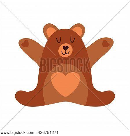 A Cute Little Bear Who Wants To Hug. Bear Hugs. Cute Friendly Animal. Windmill Illustration On White