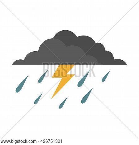 Thunderstorm Icon. Flat Illustration Of Thunderstorm Vector Icon Isolated On White Background