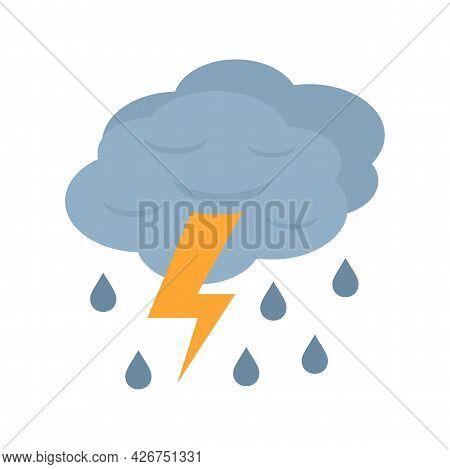 Thunderstorm Cloud Icon. Flat Illustration Of Thunderstorm Cloud Vector Icon Isolated On White Backg