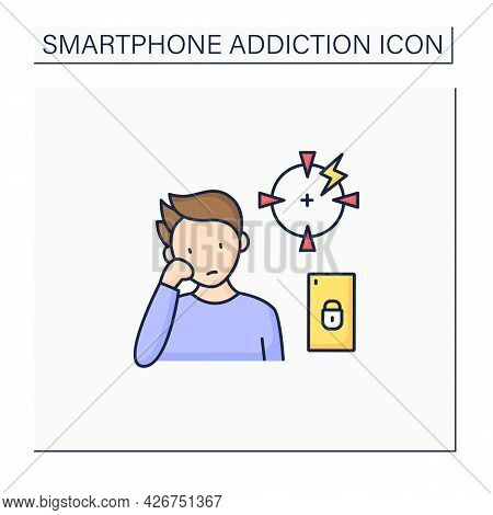 Smartphone Addiction Color Icon. Diminishing Ability To Concentrate. Inability To Focus. Unconcentra