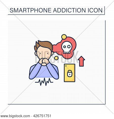Smartphone Addiction Color Icon. Increasing Stress. Anxiety Rising. Depression. Stressful Situation.