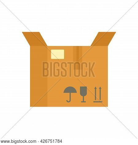 Open Parcel Box Icon. Flat Illustration Of Open Parcel Box Vector Icon Isolated On White Background