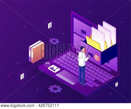 Concept Of Electronic File Organization Service. A Man Stands On A Laptop And Puts Electronic Files