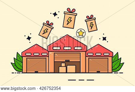 Warehouse To Store Goods Concept. Three Large Rooms With A Red Roof, In Which You Can Store Goods Fo