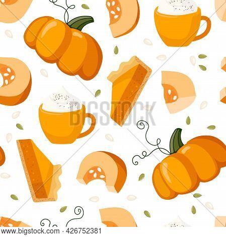 Pumpkin Product Seamless Pattern. Pumpkin, Pie, Jam, Latte. Food And Drinks Isolated. Autumn Delicio